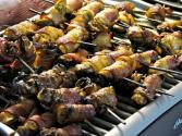 Kidney, Bacon And Mushroom Kebabs