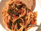 Killer Kale In Marinara Sauce Over Linguine