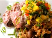 Skirt Steak With Rice And Beans And Mango Salsa