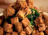 Lemon Pepper Tempeh On Garlic Spinach And Mashed Rutabaga