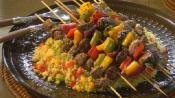 Bison And Vegetable Kabobs With Cous Cous Salad 