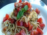 Garden Fresh: Linguini With Salsa Cruda And Pan Seared Halibut
