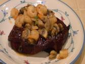 Smokingpit.com - London Broil Steaks Smoked With Sauteed Mushrooms & Shrimp - Yoder Ys640 Bbq Smoker