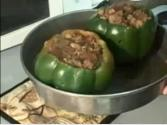 Beef & Parmesan Stuffed Green Peppers