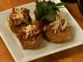Madeira Braised Italian Sausage Stuffed Mushrooms