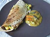 Oats Masala Dosa-stuffed Chickpea Crepe