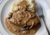 Meatloaf Cooked In Creamy Mushroom Gravy 