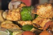 Chicken Skewers Glazed With Mustard