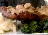 New York Strip With Sherried Mushroom Sauce And Cheesy Mashed Potatoes