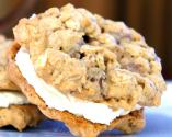 Cream Filled Chocolate Toffee Oatmeal Cookies