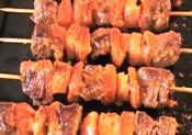 Pan Fried Skewered Beef Kabobs