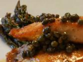 Pan Seared Salmon With Caper White Wine Butter Sauce And Roasted Garlic Asparagus