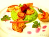 Pea Puree With Shrimp, Scallops & Bacon