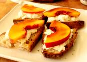 Peach Brulee Burrata Bruschetta