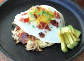 Perfect Breakfast -bacon, Sourcream, Chive Potato Cake With Fried Egg