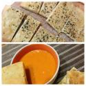 Low Calorie Roasted Bell Pepper And Tomato Soup With Whole Wheat Foccacia