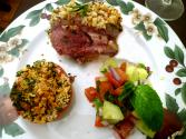 Herb Crust Lamb Loin Chops With Tomato Mint Salad