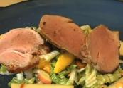 Pork Tenderloin With Napa Cabbage And Mango Slaw