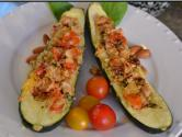 Quinoa And Cannellini Bean Stuffed Baked Zucchini
