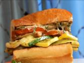 Fire Roasted Ratatouille Sandwich A Roasted Garlic Aioli And Fresh Cut Watermelon