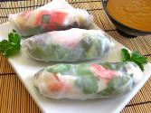 Raw Rice Paper Spring Rolls With Peanut Dipping Sauce