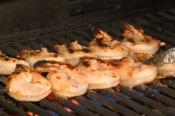 Hot And Sweet Chili Prawns On Skewer