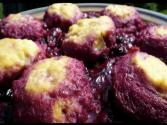 Ricotta Cheesecake And Ricotta Dumplings In Plum Blueberry Sauce