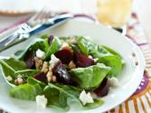 Roasted Beets With Feta Cheese Over Baby Arugula
