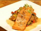 Salmon French Style With Ratatouille And White Wine Butter Sauce