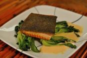 Pan Seared Salmon With Bok Choy And Sauce