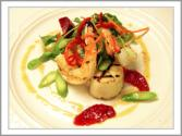 Jumbo Shrimp And Scallops With Baby Arugula And Blood Orange Vinaigrette