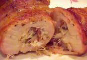 Smoked Bacon Wrapped  Crab Stuffed Chicken Breasts