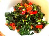 Spinach Saute With Roasted Peppers