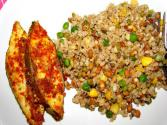 Brown Fried Rice And Steamed Fish