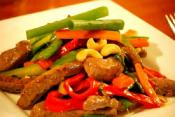 Stir Fried Beef With Cashews And Mangetout