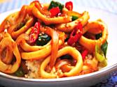 Stir-fried Spicy Squid With Rice (매운 오징어 덮밥)