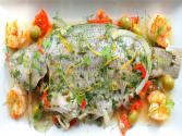 Striped Bass Stuffed With Fennel, Lemon, Tomatoes, Olives And Capers