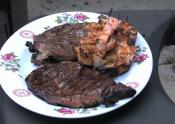 Coconut Chili Lime Rubbed Sword Fish, Shrimp And Rib Eyes