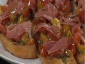 Tomato Basil Bruschetta With Prosciuitto Di Parma