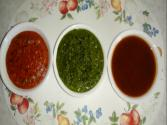 Tomato Chutney, Dhaniya (coriander) Chutney, Khajur Imli (date Tamarind) Chutney