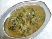 Turiya Patra Or Alu Vadi (taro Leaves And Ridge Gourd Curry)