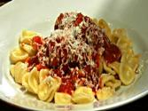 Braciola Di Vitello With Orecchiette - Stuffed Veal Rolls In Tomato Sauce Over Orecchiette Pasta