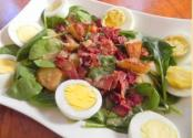 Warm Spinach Salad With Bacon, Eggs And Rosemary Potatoes