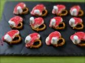 White Chocolate Pretzel Santa Hat's