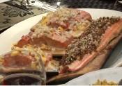 Chorizo Topped Cedar Planks And King Salmon With Mango Nut Sauce