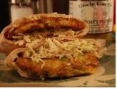Zucchini Fritter And Spicy Slaw Sandwich