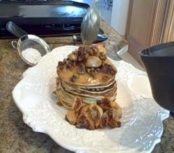 Orange Ricotta Pancakes With Fig Pistachio Compote