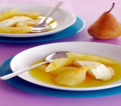 White Wine Poached Pears and Baked Ricotta