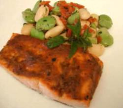 Romesco Sauce Glazed Broiled Salmon