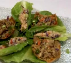 Healthy Chicken and Chipotle Lettuce Wraps with Asian Sesame Wonton Nachos